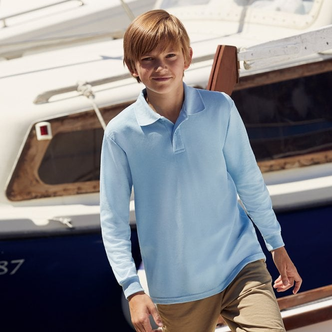 cfec13eb2 Fruit of the Loom Children's long sleeve polo shirt | New Forest ...
