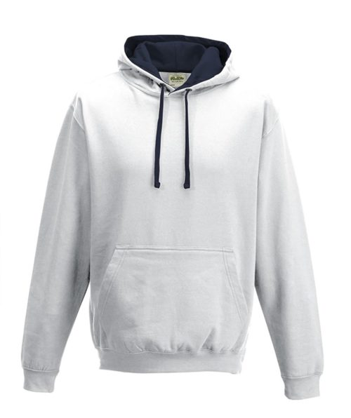 AWDIs Varsity Hoodie. Artic White with French Navy Inner hood
